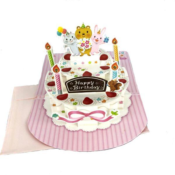 Birthday Cake 3D Pop Up Birthday Greeting Card with Envelope